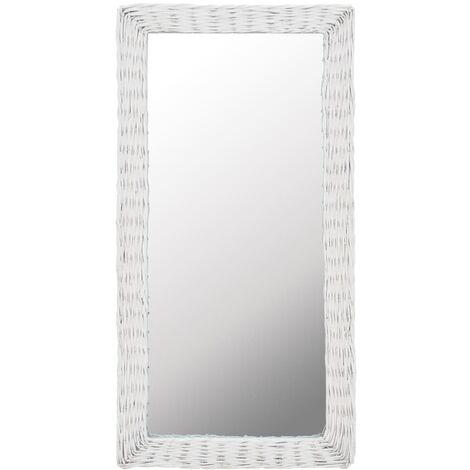 Mirror Wicker White 50x100 cm