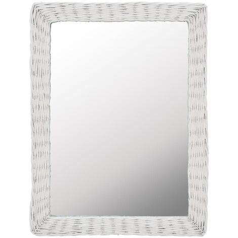 Mirror Wicker White 60x80 cm