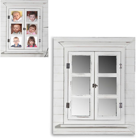 Mirror Window Decor Mirror Picture Frame Decoration Shutters shabby white 64