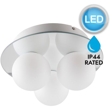 Mirrored and Opal Glass 3 Light IP44 Bathroom Flush Fitting with LED Bulbs