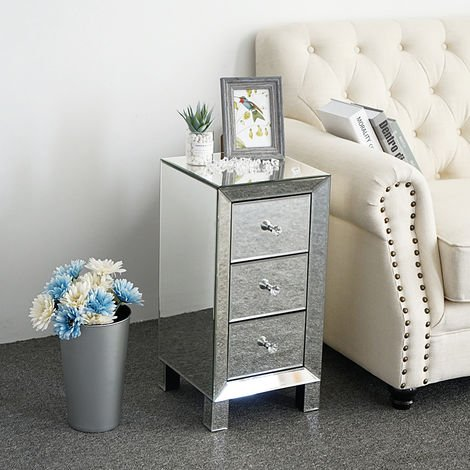 Mirrored Bedside Table side table with 3-Drawers Cabinet