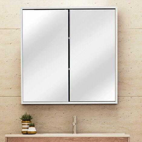 Mirrored Cabinet Wall Cabinet Cupboard Shelf Storage Bathroom Toilet 60 * 60 * 14.5cm Mohoo