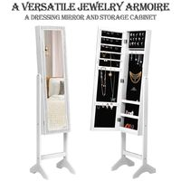 Mirrored Jewelry Cabinet Armoire Floor Stand Resin Diamond Makeup Storage New
