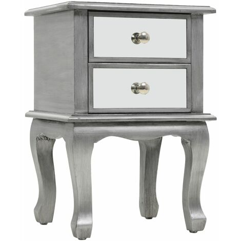 Mirrored Nightstand MDF and Glass 34.5x30x50 cm - Silver