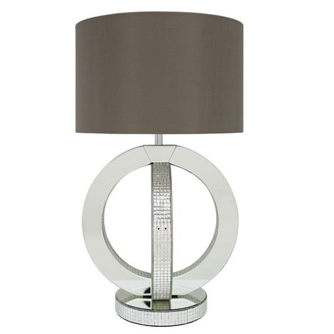Mirroreded Double Ring Table Lamp with 16 inch Taupe Faux Silk Cylinder Shade
