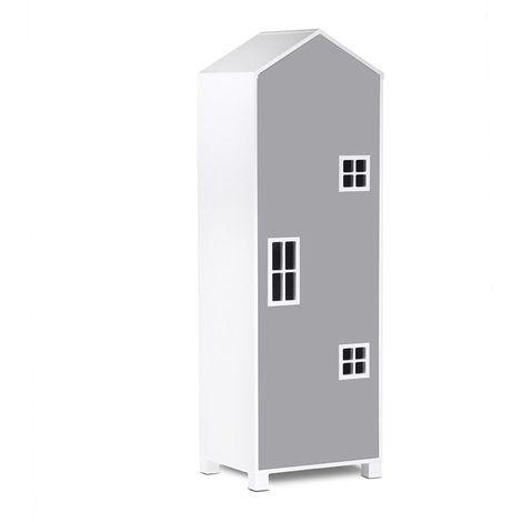 MIRUM   Armoire chambre enfant   Barre de penderie   57x172x45 cm   Meuble de rangement Mobilier de chambre enfant   Blanc/Gris - Blanc/Gris