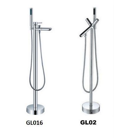 miscelatore a colonna design moderno per vasca freestanding con doccino estraibile 2 modelli gl016 gl02