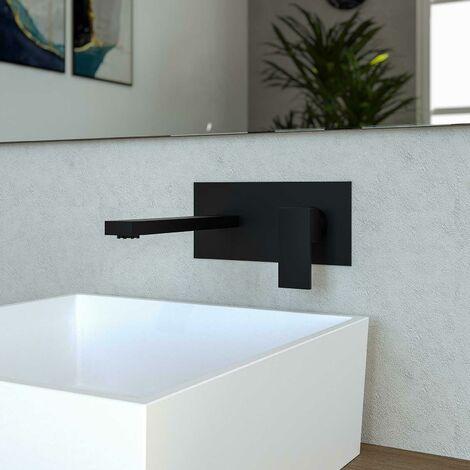 Miscelatore incasso lavabo da parete nero opaco bocca da 22,5 cm