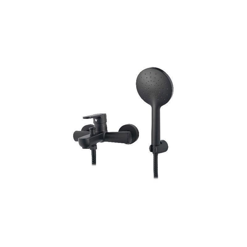 Miscelatore monocomando vasca nero opaco serie Choco con deviatore automatico