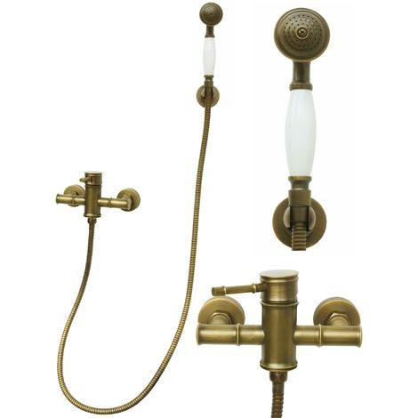 Mischbatterie Dusche Duscharmatur Schlauch Handbrause Retro Antik