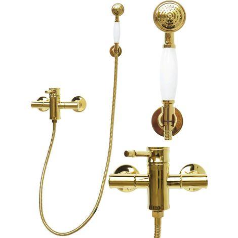 Mischbatterie Dusche Duscharmatur Schlauch Handbrause Retro Gold 7235-132