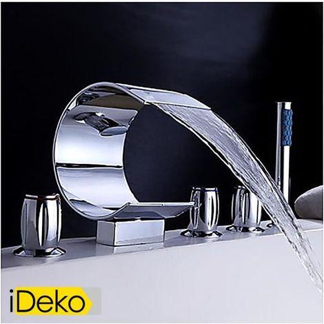 Mischventil für die Badewanne, Wasserfallauslauf und Handbrause (gewölbte Form)