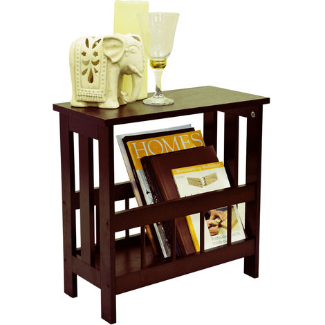 Mission Solid Wood Sofa Side Table Magazine Storage