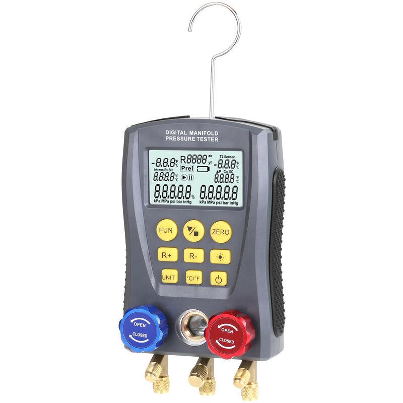 Happyshopping Misuratore digitale a collettore Misuratore di riempimento della pressione del vuoto HVAC,