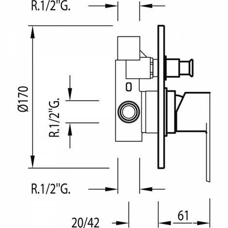 Mitigeur à encastrer (2 voies) corps encastré inclus - TRES 01718012