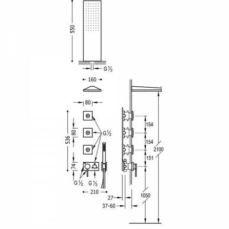 Mitigeur à encastrer 3V avec corps encastré inclus (3 voies) - TRES 21027305