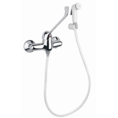 Mitigeur à mur avec levier médicale, douchette et flexible pour cuvette WC Idral 02404 | chrome