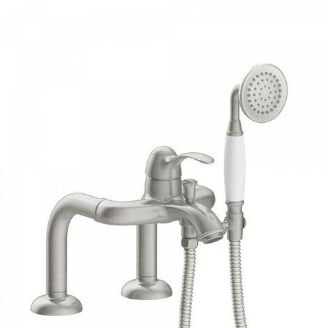 Mitigeur bain d'étagère Douchette à main anticalcaire. Flexible double agrafage - TRES 24219401AC