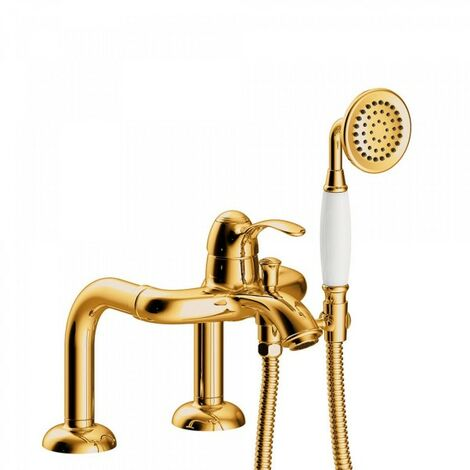 Mitigeur bain d'étagère Douchette à main anticalcaire. Flexible double agrafage - TRES 24219401OR