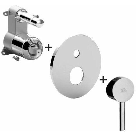 Mitigeur bain/douche encastré avec inverseur à 2 sorties Paffoni Stick SKBOX015 | Chromé - 2 USCITE