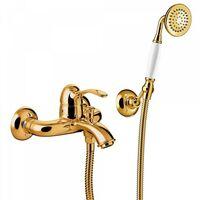 Mitigeur bain Douchette à main anticalcaire avec support orientable. Flexible double agrafage - TRES 24217001OR