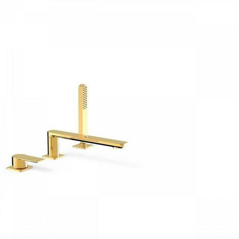 Mitigeur bain sur gorge avec douchette anticalcaire. · Débit : 3 bar – 16 l/min - TRES 20016201OR
