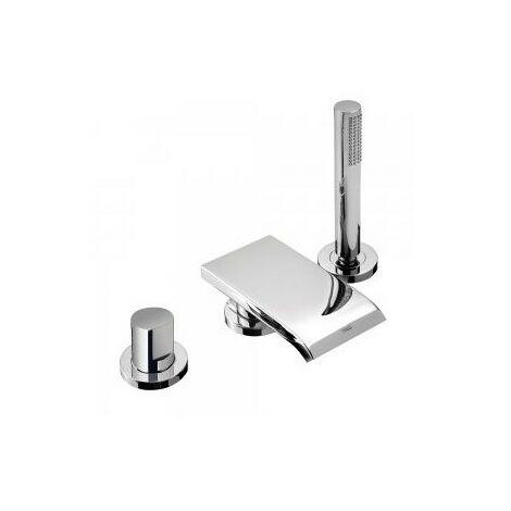 Mitigeur bain sur gorge MAX avec bec cascade et douchette anticalcaire - TRES 06116101