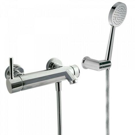 Mitigeur bain‑douche Douchette à main anticalcaire avec support orientable et flexible satin - TRES 20317001