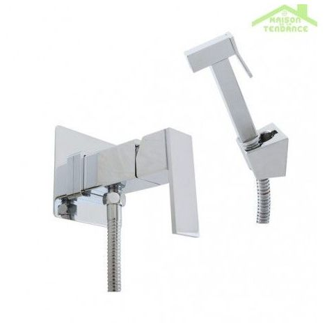 Mitigeur bidet, toilettes encastrable LOIRA en chrome avec douchette