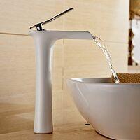 Mitigeur cascade Blanc pour Lavabo Salle de Bains Chromé Design Moderne