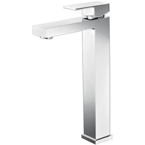 Mitigeur chromé surélevé carré pour vasque salle de bain