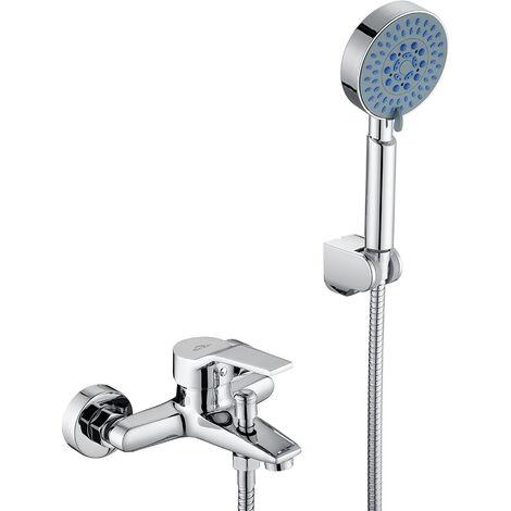 Mitigeur de baignoire avec Douchette Kit Mitigeur Robinet de Baignoire Cascade Multifonctionnelle Robinet Laiton