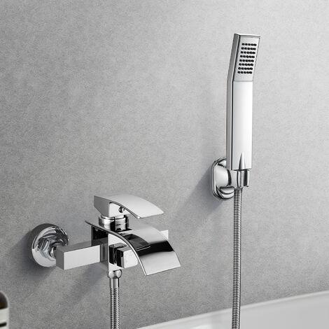 """main image of """"Mitigeur de Baignoire de salle de bain Robinet Douche de bain Sets de douche de chromé en forme de Cascade"""""""