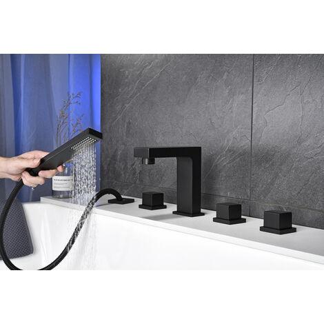 Mitigeur de baignoire Noir 5 en 1 Set de Robinet Baignoire Mélangeur Cascade avec, douchette Mitigeur bain douche Salle de bain