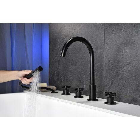 Mitigeur de baignoire Noir 5 en 1 Set de Robinet Baignoire Mélangeur Cascade avec douchette Mitigeur bain douche Salle de bain