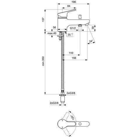 Mitigeur de bain-douche Olyos C2 monotrou sans ensemble douche chrome, PORCHER, Ref.D1141AA