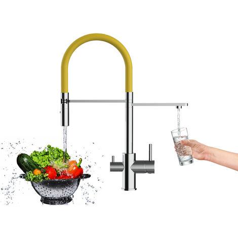 Mitigeur de cuisine 3 voies chrome robinet bec jaune orientable et douchette 2 jets detachable VIZIO