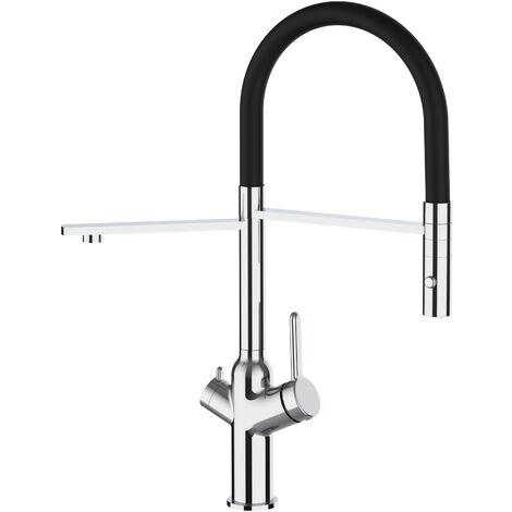 Mitigeur de cuisine 3 voies chrome robinet bec noir orientable et douchette 2 jets detachable BOD VIZIO