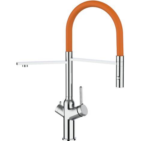 Mitigeur de cuisine 3 voies chrome robinet bec orange orientable et douchette 2 jets detachable BOD VIZIO