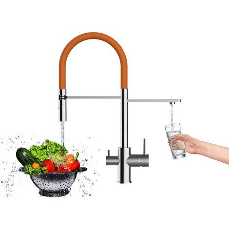 Mitigeur de cuisine 3 voies chrome robinet bec orange orientable et douchette 2 jets detachable VIZIO
