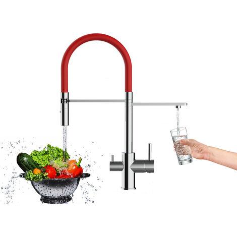 Mitigeur de cuisine 3 voies chrome robinet bec rouge orientable et douchette 2 jets detachable VIZIO