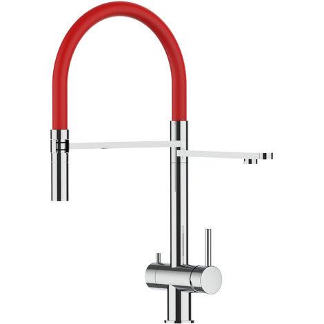 Mitigeur de cuisine 3 voies en ACIER INOXIDABLE poli brillant bec rouge orientable et douchette 2 jets detachable VIZIO