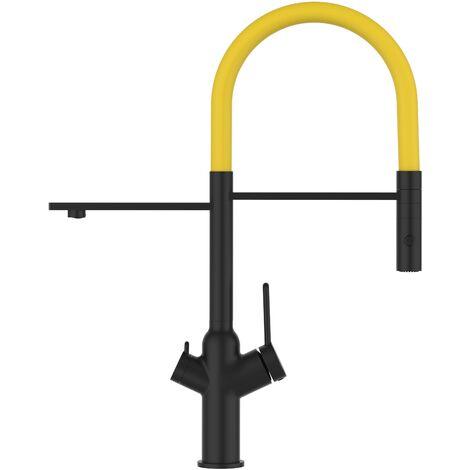 Mitigeur de cuisine 3 voies noir mat robinet bec jaune orientable et douchette 2 jets detachable BOD VIZIO