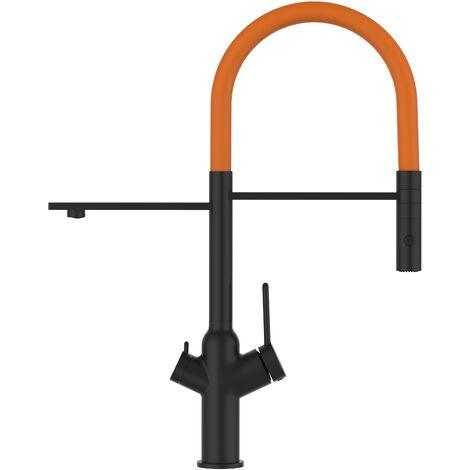 Mitigeur de cuisine 3 voies noir mat robinet bec orange orientable et douchette 2 jets detachable BOD VIZIO