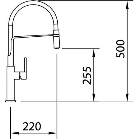Mitigeur de cuisine Chef Slim - chromé et noir mat - 50x22x25,5 cm
