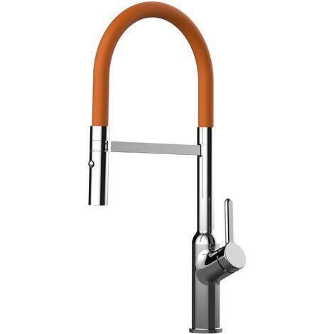 Mitigeur de cuisine chrome robinet bec orange orientable et douchette 2 jets detachable BOD VIZIO