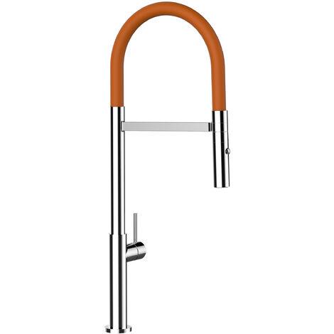 Mitigeur de cuisine chrome robinet bec orange orientable et douchette 2 jets detachable design minimaliste VIZIO