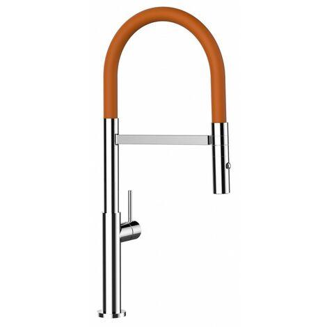 Mitigeur de cuisine chrome robinet haut 48cm bec orange orientable et douchette 2 jets detachable design minimaliste VIZIO