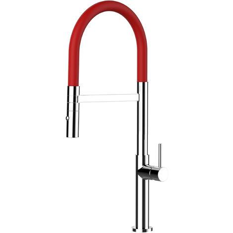 Mitigeur de cuisine chrome robinet haut 48cm bec rouge orientable et douchette 2 jets detachable design minimaliste VIZIO