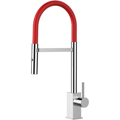 Mitigeur de cuisine chrome robinet moderne bec rouge orientable et douchette 2 jets detachable VIZIO